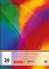 Schulheft unliniert mit Linienblatt, (Heft Lin20), Regenbogenheft von Brunnen A4