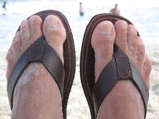 Santo Sandals, Men's Nico Leather Flip Flops, Cow Leather, Fabric Toe Loop, New!
