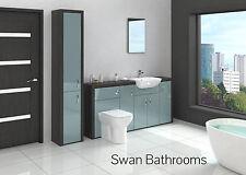 Hacienda / Metallic Blue Gloss Bathroom Fitted Furniture With Tall Unit 2200Mm