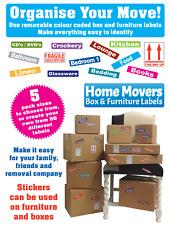 Le déménagement boîtes-Boîte en carton meubles & - code couleur stickers-amovible