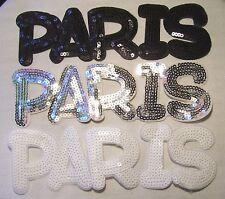 GRAND ÉCUSSON PATCH SEQUIN thermocollant - LETTRE MOT PARIS ** 8 x 24 cm**