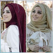 Shimmer Pleated Hijab Scarf Plain Shiny Crinkle Shawl Muslim Women Maxi Veils