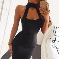 vestito mini abito donna tubino nero collo alto moda sera party sensuale 3208