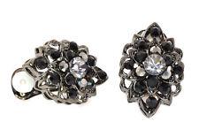 Rhinestone,Base Metal Rhodium Plated & Cluster Crystal Clip-On Earrings - E130