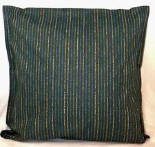 "Cushion Cover green yellow stripe print 100% cotton zipped 18"" & 16"" -  FREE p&p"