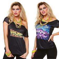 Ladies 80's T-Shirt Black Top Festival Fancy Dress Womens Outfit