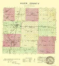 Old County Map - Allen Kansas - Everts 1887 - 23 x 26.03