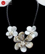 White Baroque Shell Flower & Pearl Pendant Necklace for Women & Black Rope 18''