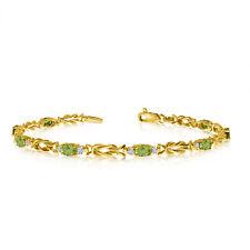 14K Yellow Gold Oval Peridot and Diamond Bracelet