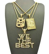 "Hip Hop Pave DC, MMG, We the Best Pendant 24"",30"" Box Chain 3 Necklace Set"