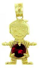 Fine Yellow Gold July Birthstone Ruby Red Round CZ Baby Boy Charm Pendant