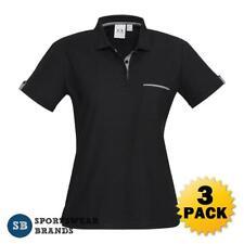 3 x Ladies Edge Polo Shirt Black Check Size 6 8 10 12 14 16 18 20 22 24 P305LS