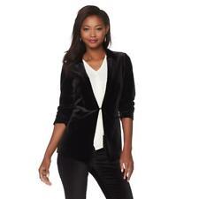 $140 Jones New York Women's Black Velvet 3/4 Ruched-Sleeve Blazers /Jackets NWT