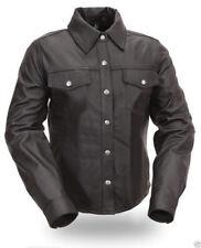 Men's Genuine Lambskin Leather Shirts Slim fit Police Military Style Shirts KS06