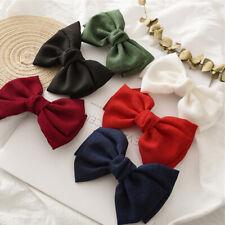 1Pc Large Bow Hair Clips Vintage Linen Barrettes Korean Ponytail Clip Hairgrips*