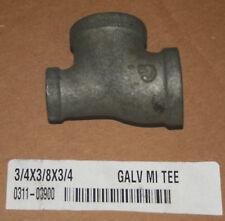 "3/4"" x 3/8"" x 3/4"" Galvanized Malleable Iron Tee (Lot of 11)"