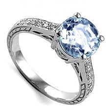 10k White Gold Aquamarine and Diamond Engagement Ring  4 to 9.5 #R1663
