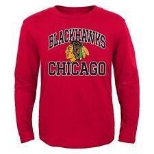 Chicago Blackhawks NHL Youth Boys Team Logo Long Sleeve Red T-Shirts: M-XL
