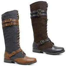 Mujer de las Señoras Mitad de Pantorrilla Knee High Lace Zip De Combate Militar Ejército Botas Zapatos Talla
