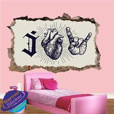 I LOVE musique rock heavy metal Chambre Nursery Bureau Mur Autocollants Art Mural XT8