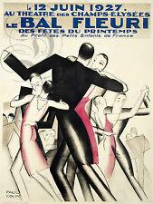 REPRO DECO AFFICHE LE BAL FLEURI 1927 THEATRE  SUR PANNEAU MURAL BOIS HDF