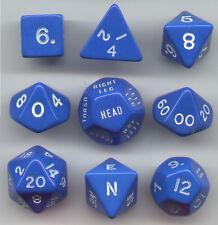 RPG Opaque Blue Dice Cube 9pc D20, D12, D10, D8, D6, D4, Compass, Hit loc.