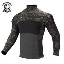 Tactical Military Camo Long Sleeve T Shirt Men Combat Shirt Camouflage Zip Tees