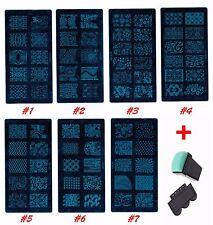 1-7 Set Manicure Nail Art Polish Stamping Print Plate Template Stamper + Scraper