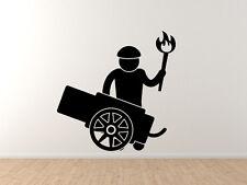 Medieval Stickman #5 - Cannon Gunner Torch Man - Vinyl Wall Decal
