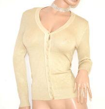 MAGLIETTA donna BEIGE TORTORA cardigan aperto maniche lunghe bottoni golfino 130