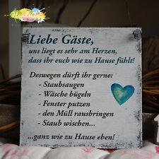Shabby Style -Liebe Gäste- Holzschild Geschenk Dekoration HandsArt