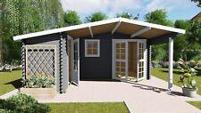 Gartenhaus aus Holz mit Vordach, Blockhaus 5.1x4.8M+2.98M, 28mm Birminghem 28031