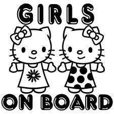GIRLS ON BOARD KIDS BABY BOY GIRL HELLO KITTY WINDOW VINYL DECAL STICKER (BB-5)