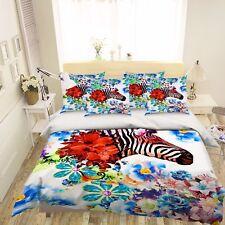 3D Flowers Zebra Bed Pillowcases Quilt Duvet Cover Set Single Queen King Size AU