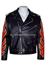 Classic BRANDO Black RED Flame Men's Motorcycle Biker Hide Real Leather Jacket