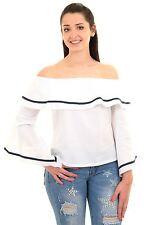 Ladies Off Shoulder 3/4 Bell Flare Sleeve Bardot Frill Ruffle Stripe Hem Top