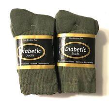3/ 6/ 12 Pair Non-Binding Top DIABETIC Green Crew Socks Size 9-11,  Make In USA