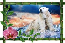 Sticker mural trompe l'oeil déco ours polaire réf 979