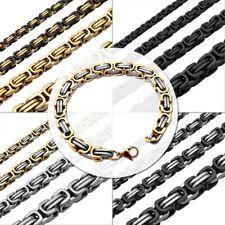 Set Collier Chaîne Byzantin Royale Homme + Bracelet Massif Femme Acier Punk Kit