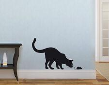 Wandaufkleber: Katze (30cm) + Maus (6cm) Kinderzimmer Deko Wohnzimmer WandTattoo