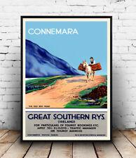 Connemara, Vintage Irish Rail Travel advertising Reproduction poster, Wall art.