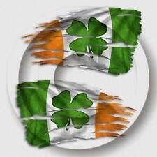 2 Black Billet Aluminum Knurled Tire Valve Caps Irish Clover Flag NT