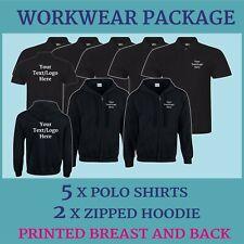 Work Wear Package Uniform Printed 2 zipped Hoodies 5 Polo Shirts Personalised