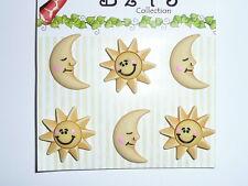 Sun & Moon Fun Realistic 3-D Animal Bazooples Buttons - Sun & Moon (6 buttons)