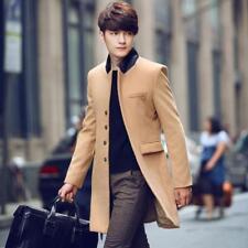 Men Woolen Trench Korean Slim Fit Fashion Jacket Wind Coat Khaki Stand Collor