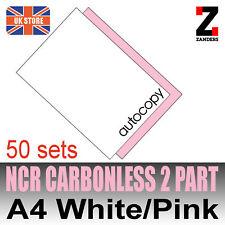 Set di 25 x A4 NCR duplicato due parti di Carta Bianco & Rosa-a Getto D'inchiostro & STAMPA LASER