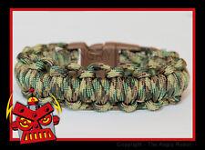 550 Paracord Survival Bracelet - Half Hitch Alt - Multi Camo - Brown Buckle