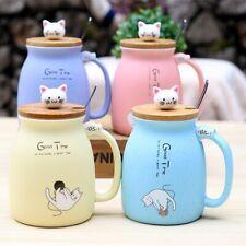 Cartoon Ceramic Cat Cup Lid Coffee Mug Spoon Tea Novelty Gift Milk Kitten Home