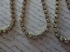 2mm Clear Rhinestone Chain - Brass Setting - Czech Crystals - Choose Length