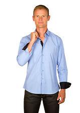 Ugholin - Chemise Homme Coton Bleu Chambray Galon Orange Ajustée Manches Longues